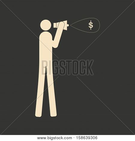 Flat in black and white man yelling into megaphone