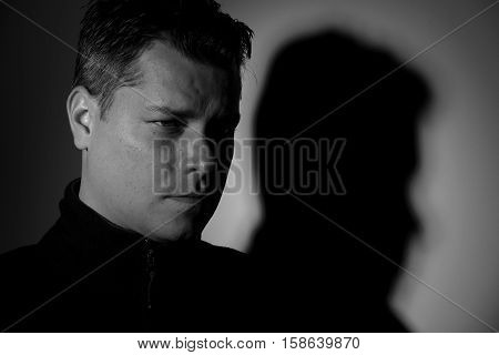 Portrait of young man black and white