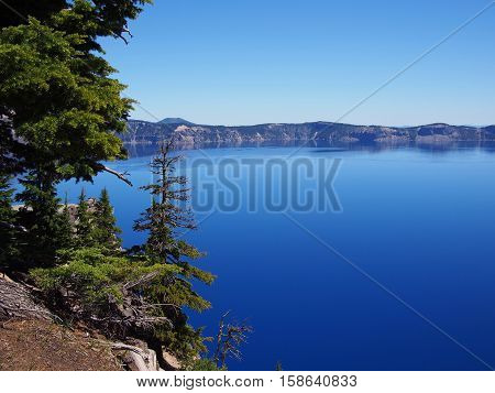The outer rim of Crater Lake on a sunny summer day.