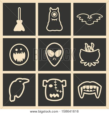 Flat in black and white concept mobile application halloween icons