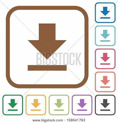 Download simple icons in color rounded square frames on white background