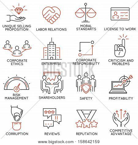 Vector set of 16 icons related to business ethics management strategy and development. Mono line pictograms and infographics design elements - part 1