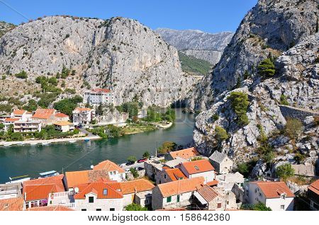 Town Omis in Croatia with mountains and river Cetine