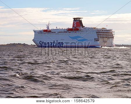 Ferry to Sweden. Karlskrona, Sweden - June 14, 2014 Passenger ferry on the Baltic Sea, flows to the port of Karlskrona.