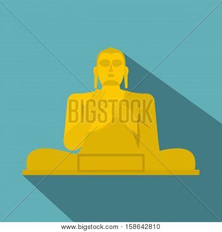 Golden Buddha at the Golden Temple of Dambulla, Sri Lanka icon. Flat illustration of Golden Buddha at the Golden Temple of Dambulla vector icon for web isolated on baby blue background