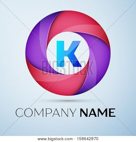 Letter K vector logo symbol in the colorful circle. Vector template for your design