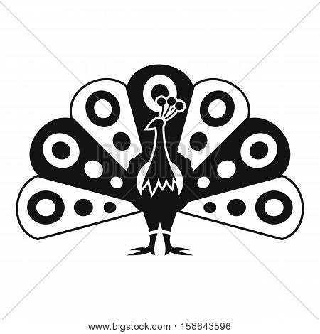 Peacock with flowing tail icon. Simple illustration of peacock with flowing tail vector icon for web