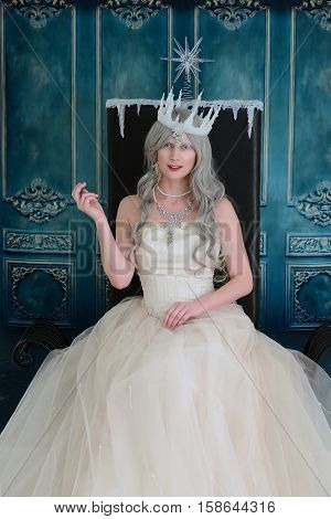 portrait of ice queen on her throne