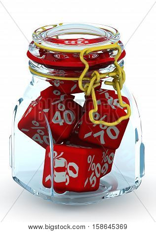 Discounts in a glass jar. Red cubes with percent discounts lie in a glass jar. With locked lid. Isolated. 3D Illustration