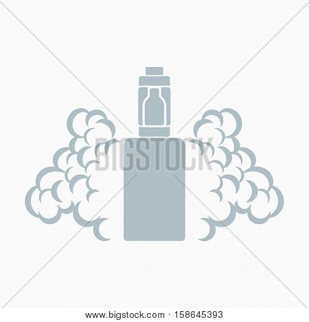 Vector emblem of the electronic cigarette with steam