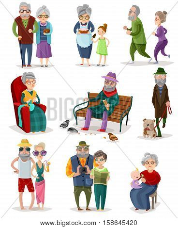 Senior people cartoon set of different activities and hobbies at retirement isolated vector illustration
