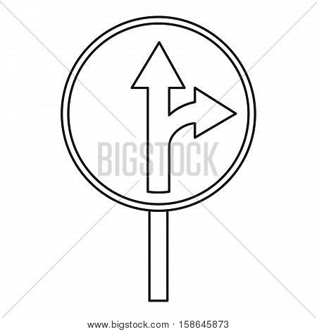 Straight or right turn ahead traffic sign icon. Outline illustration of straight or right turn ahead vector icon for web