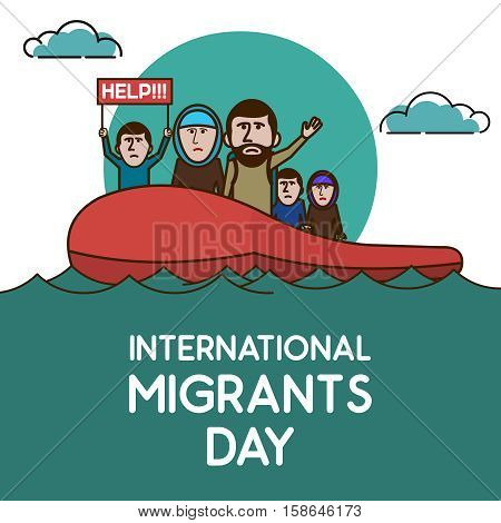 Refugees on the boat in open ocean. Help Us. International migrants day. Vector illustration.