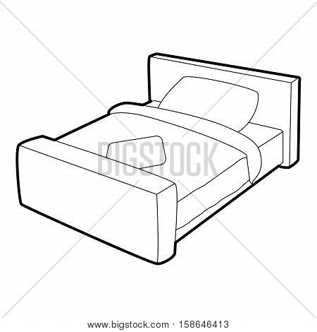 Double bed icon. Isometric 3d illustration of double bed vector icon for web
