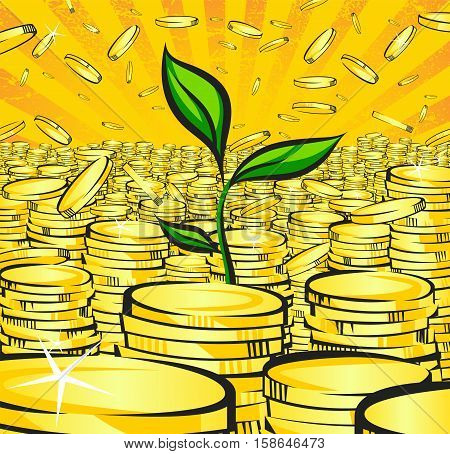 Golden money stacks with green sprout of wealth tree gold coins retro vector illustration of the shining wealth pop art treasure image