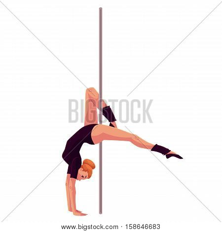Young pole dance woman in black leotard doing hand stand, cartoon style vector illustration isolated on white background. Young, slim and beautiful pole dancer standing on hands