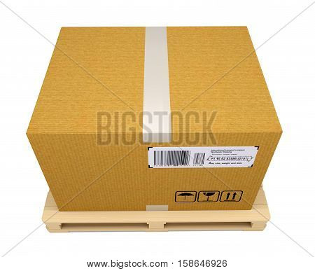 Corrugated cardboard box on wooden pallet isolated on white. Top view. 3D rendering