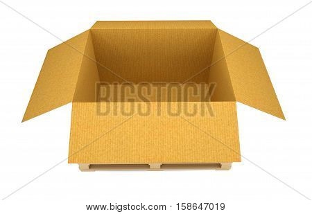 Opened cardboard transportation box on wooden pallete. Isolated on white. 3D illustration