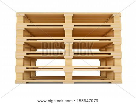 Euro pallets. Front view. 3D illustration isolated on white background
