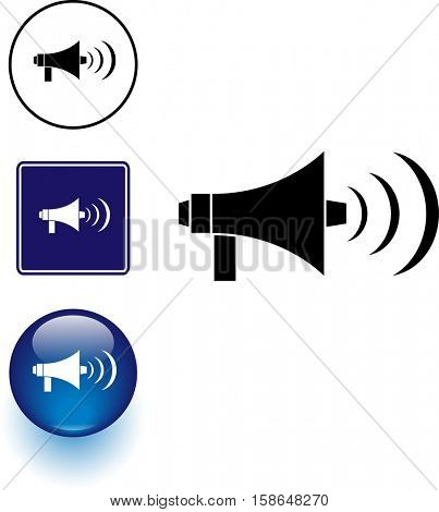 bullhorn or megaphone symbol sign and button