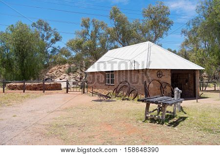 telegraph station historical reserve building and shoeing yard in alice springs northern territory of australia