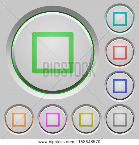 Media stop color icons on sunk push buttons