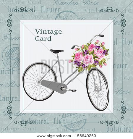 Gray bicycle with a basket full of flowers. Vintage postcard background. Vector illustration.
