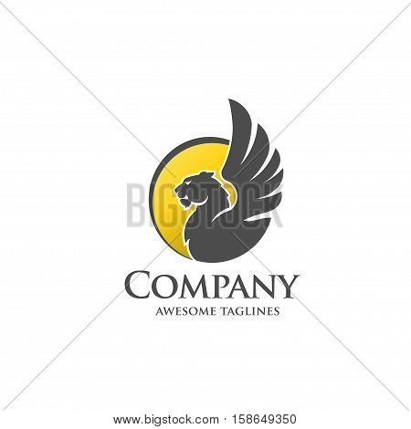 lion with wings circle concept, lions sprout wings, modern design inspired by an winged lion