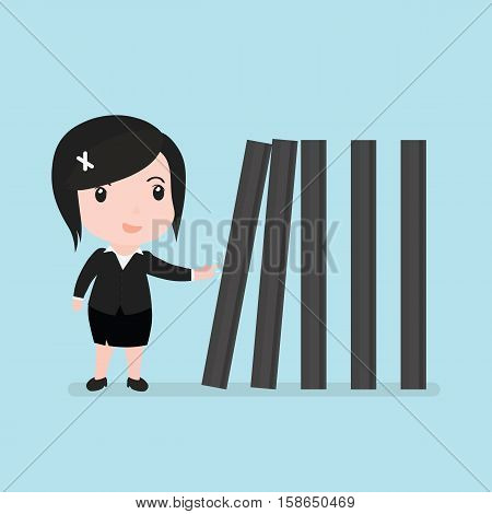 Business Woman With Toppling Dominoes, Domino Effect