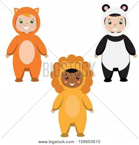 Kids party outfit. Cute smiling happy children in animal carnival costumes vector illustration. Isolated children in fox panda bear and lion clothes