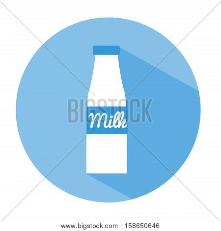 Milk bottle flat icon with long shadow. Vector illustration