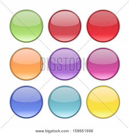 Vector buttons design elements. Colorful interface navigation buttons web icon element. Bright circle download site button. Modern collection template shape button abstract blank style.
