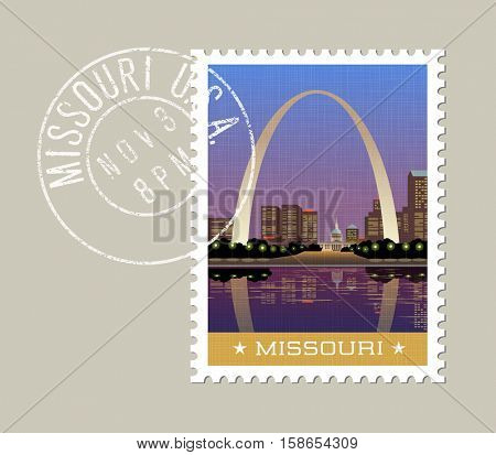 Missouri postage stamp design. Vector illustration of Gateway Arch and downtown St. Louis. Grunge postmark on separate layer