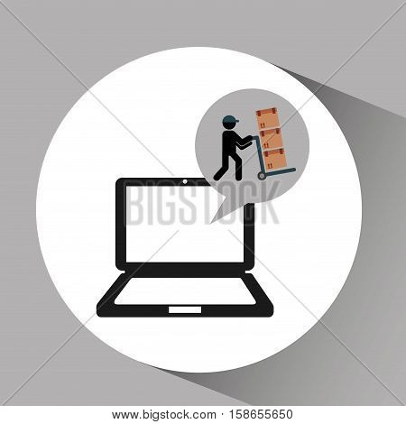 online delivery concept delivery man pushing boxes vector illustration eps 10