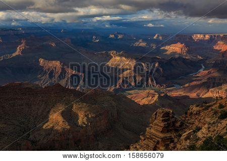 Beautiful Sunset Of Grand Canyon From North Rim; Arizona; United States