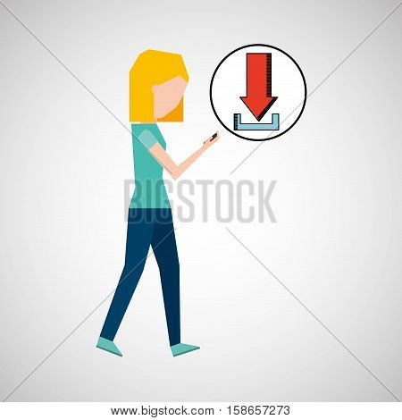 girl using phone download icon graphic vector illustration eps 10