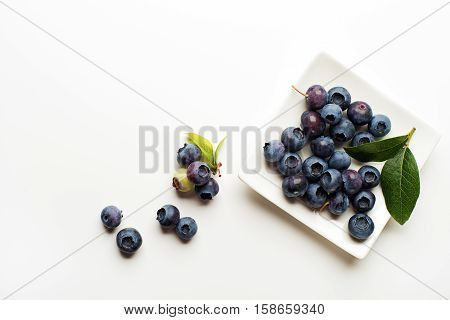 Fresh blueberries with green leaves on white background