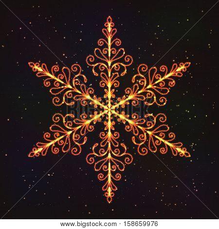 Christmas Decoration Snowflake with Glow Effect. Luminous Hexagonal Pattern.