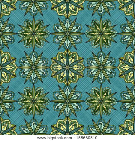 Seamless floral pattern in yellow & green flowers on greenish blue background.