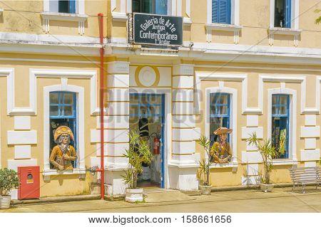 NATAL, BRAZIL, JANUARY - 2016 - Art gallery facade at historic center of Natal Brazil