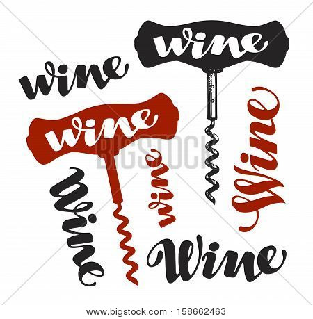 Wine corkscrew symbol. Winery icons. Vector illustration isolated on white background