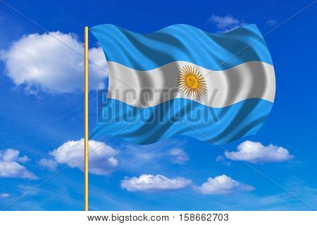Argentinian national official flag. Argentine Republic patriotic symbol banner element background. Flag of Argentina on flagpole waving in the wind blue sky background. Fabric texture. 3D rendered illustration