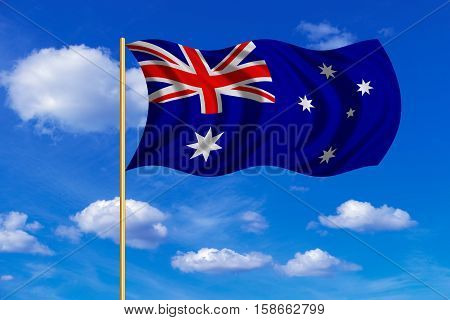 Australian national official flag. Patriotic symbol banner element background. Correct colors. Flag of Australia on flagpole waving in the wind blue sky background. Fabric texture. 3D rendered illustration