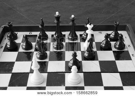 Chess combination. Fool's mate in chess. Play in chess.