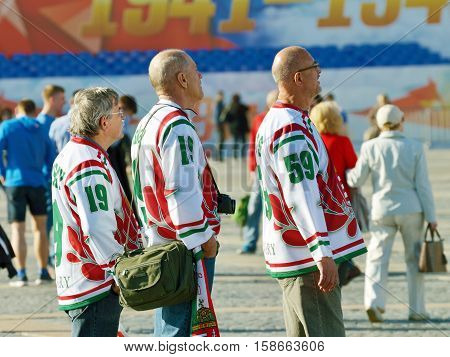 Russia.Saint-Petersburg.07.05.2016.Palace square.Palace square.Hungarian sports fans admire the sights of the city.