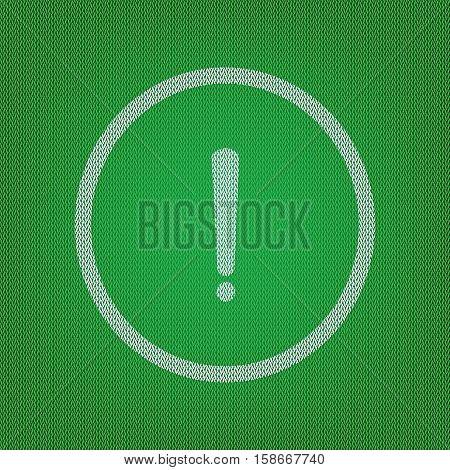 Exclamation Mark Sign. White Icon On The Green Knitwear Or Woole