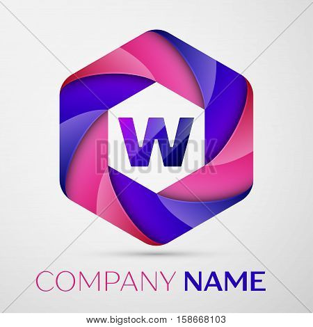W Letter colorful logo in the hexagonal on grey background. Vector template for your design