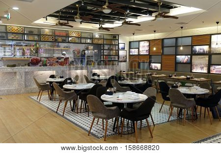 BEIJING - FEBRUARY 24: The food court at shopping mall  in Beijing, China, February 24, 2016.