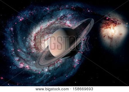 Solar System - Saturn. It is the sixth planet from the Sun and the second-largest in the Solar System. It is a gas giant planet and has a ring system. Elements of this image furnished by NASA.
