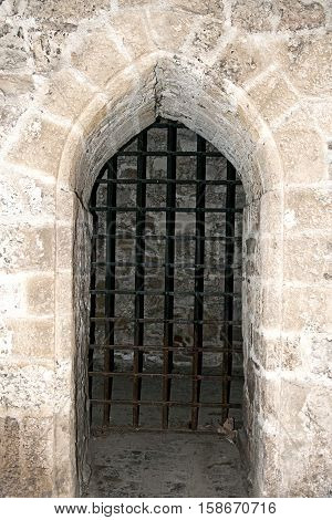Middle ages portal. The bars of the dungeon. Cage, prison
